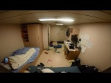 Inside a crew cabin in Cargo Ship Swaying During Rough Seas