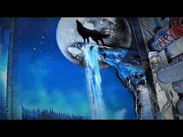 Howling wolf on the Moonlight - SPRAY PAINT ART - by Skech