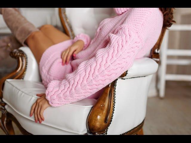 Как связать длинный свитер спицами. Платный МК от Миланида