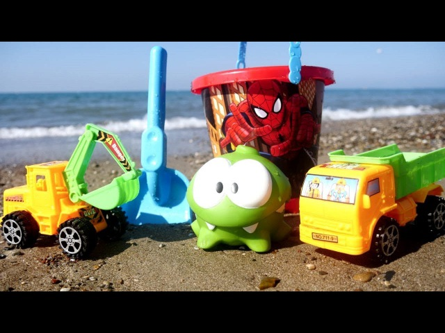 Tutti al mare-Giochi per bambini sulla spiaggia con OmNom-Costruiamo una piscina con le macchine