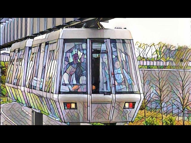 Монорельс или SkyTrain Подвесной поезд в Дюссельдорфе