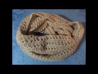 Шарф снуд связан ажурным узором. Вязание спицами. Knitting(Hobby)