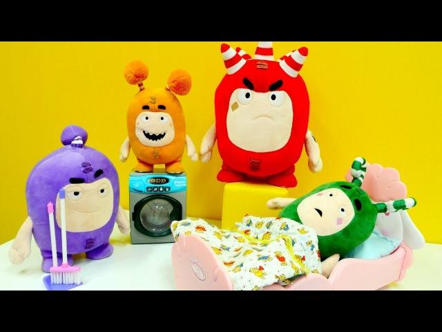 Oddbods TÜRKÇE! Pelüş oyuncakları eğlendiriyoruz! Her birine bir ÖDEV bul! Oyuncak mobilya. Temizlik