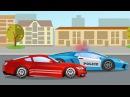 Мультики про машинки Гоночные машины на дороге в городе Монстр Трак и Полиция Му...