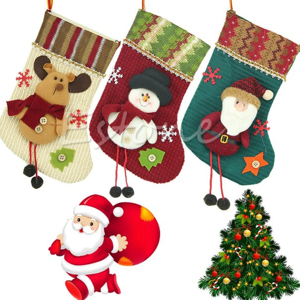 Рождественские чулки  https://ru.aliexpress.com/store/product/2015-Modern-New-Santa-Claus-Christmas-Stocking-Hanger-Xmas-Ornaments-Plush-Candy-Gift-Bags/1201705_32529937121.html?detailNewVersion=&categoryId=100001825