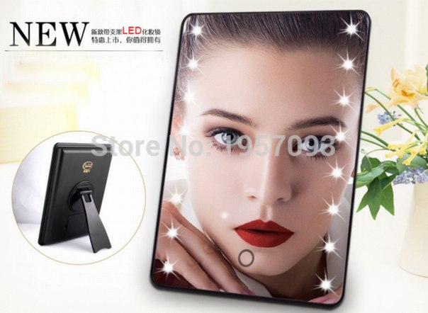 Зеркало с LED подсветкой  https://ru.aliexpress.com/store/product/Fashion-Led-make-up-mirror-cosmetic-mirror-with-light-Tabletop-led-make-up-mirror-2-colors/1957093_32581418864.html?detailNewVersion=&categoryId=1534