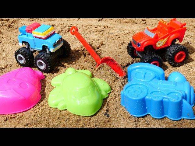 Giochi per bambini sulla spiaggia-Blaze e le mega macchine impariamo i colori-Tutti al mare con cars