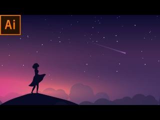 Night Scene Vector Illustration   Adobe Illustrator Tutorial