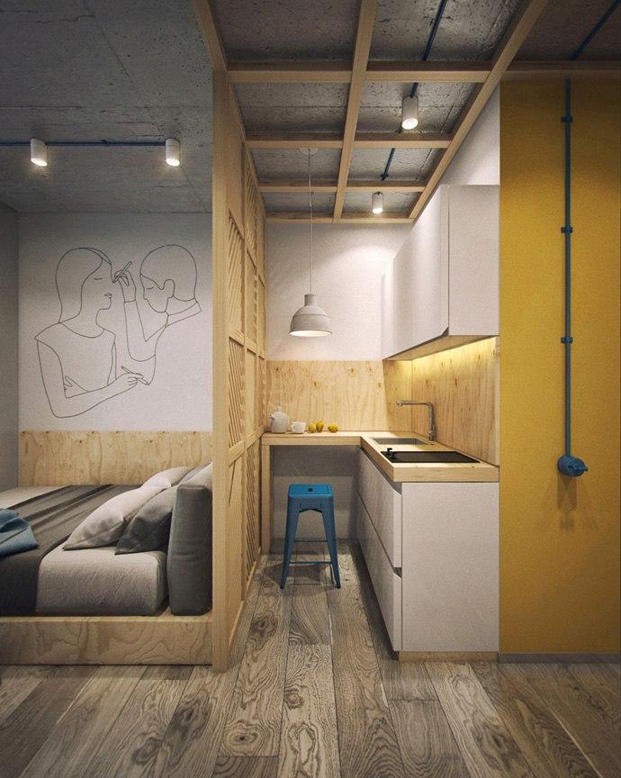 Проект маленькой студии для студенческого отеля без точного метража.
