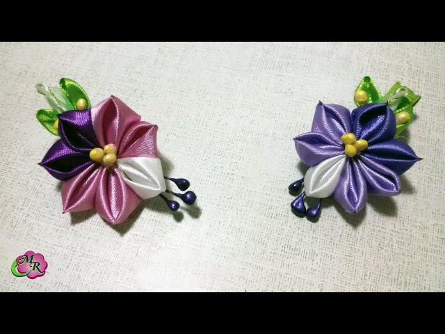 Брошь и заколка Краски Мая. Канзаши МК/Brooch Hairpin May's Colors. DIY Kanzashi