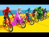 LEARN COLOR BMX &amp MotorCycles JUMP! for kids w Superheroes Cartoon for children Nursery rhymes