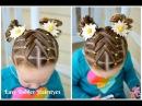 Cascading Weaved Elastics Little Girl Hairstyle