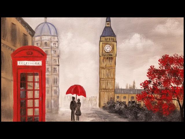LONDON Landcape Impressionist Acrylic Painting Tutorial LIVE Valentines Angelooney Event