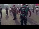 Танец солдат военно морских сил Индонезии (танцует Khalwa Alya Nairi).