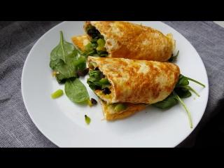 Яичные роллы с моцареллой, сладким перцем и шпинатом