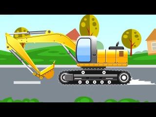 Der Gelb Bagger - Die große Autos für Kinder - Cartoon für Kinder