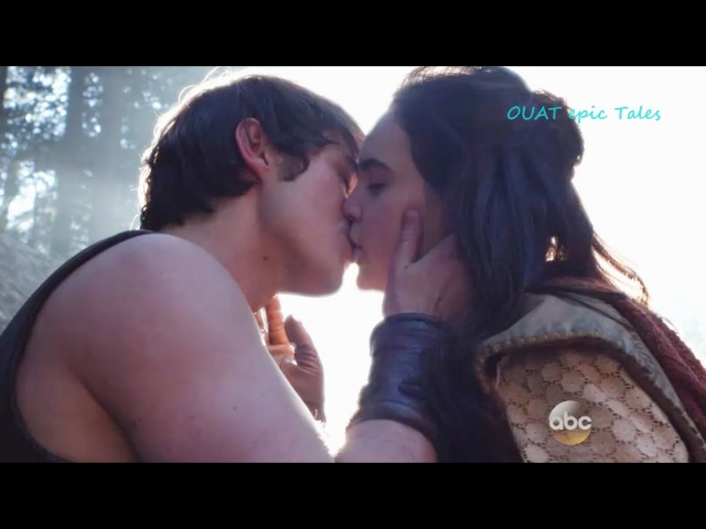 Once Upon A Time 5x13 Young Snow and Hercules Kiss
