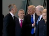 Donald Trump PUSHES The Prime Minister Dusko Markovic Of Montenegro To Be In Front of Group (VIDEO)