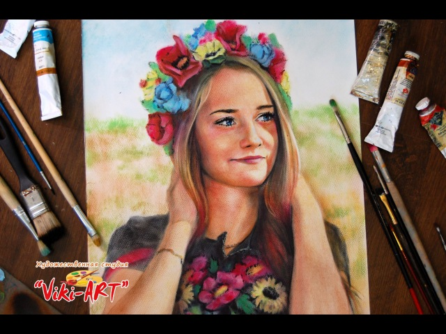 Как нарисовать портрет. Сухая кисть в цвете/ How to paint portrait in dry brush. Viki-ART