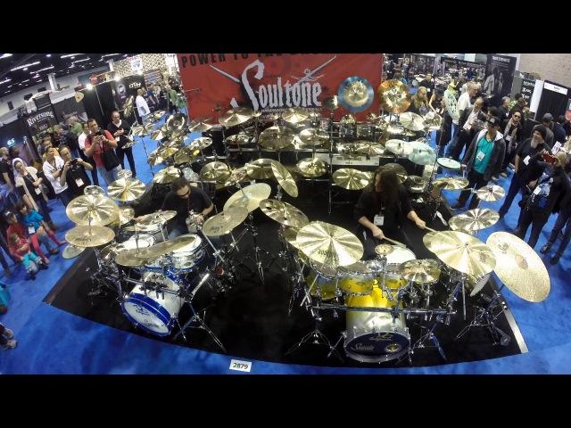 Nick Menza and Shawn Drover at Soultone cymbals NAMM 2016