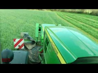 Silage '13 - Mowing with John Deere 6210R Triples, from the CAB.