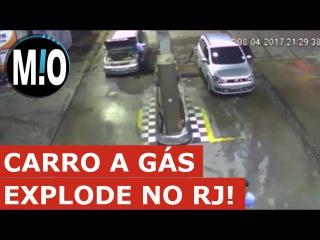 Carro explode no posto de gasolina, carro a gás explode, explosão durante abastecimento GNV, RJ