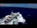 Mega private yacht hits rough seas