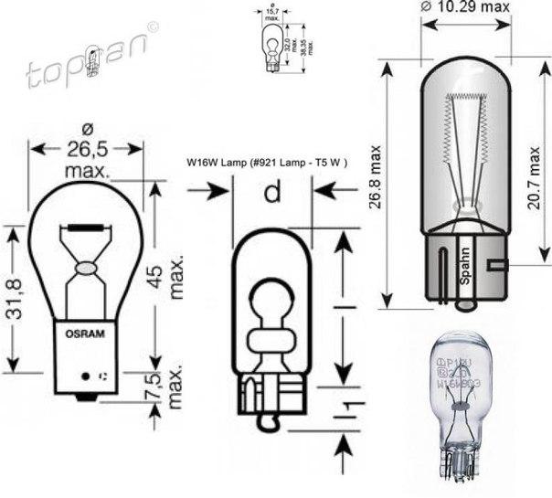 Лампа накаливания, фара заднего хода для AUDI Q5 (8R)