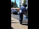 Водитель заправляет автобус Воронеж 2017