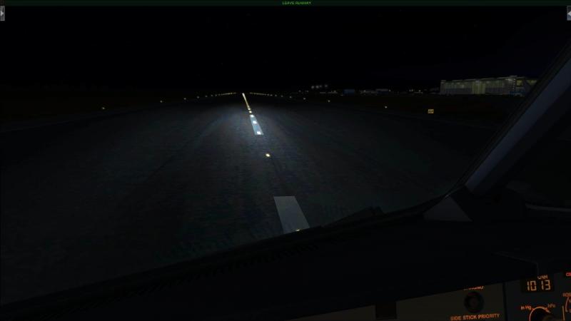 Ночная посадка в Домодедово на полосу 32L