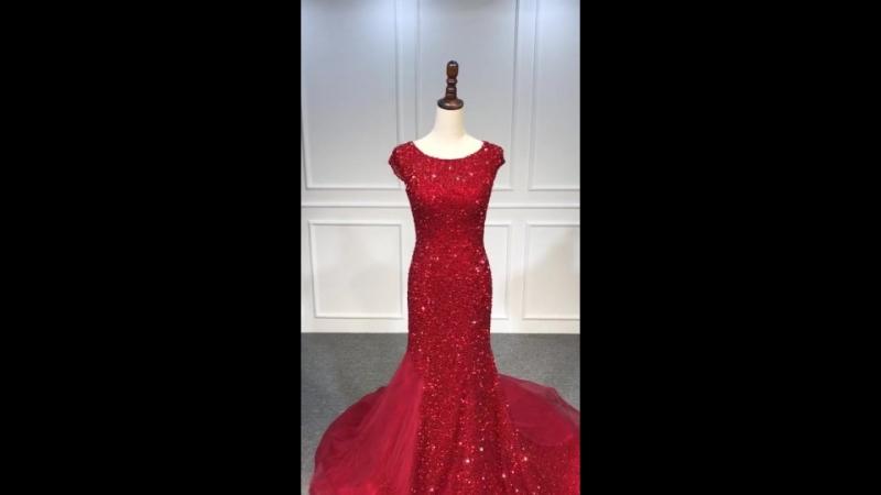All hand beaded red mermaid prom dress