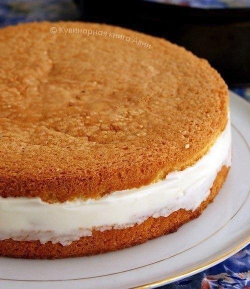 Торт с нежнейшим творожным кремом Понадобится: Для бисквита: - 5