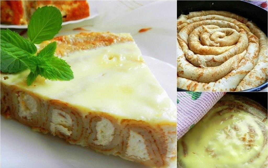Блинный пирог с творожной начинкой Для приготовления блинного