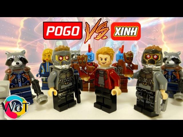 Сравнение китайских минифигурок Pogo и Xinh по Стражам Галактики 2