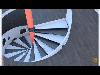 AutoCAD (АвтоКад). Взаимосвязь 2D и 3D. (на примере винтовой лестницы). (Алексей Меркулов)