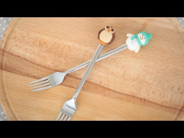 Снеговик и сова из полимерной глины Декор десертной вилки ложки