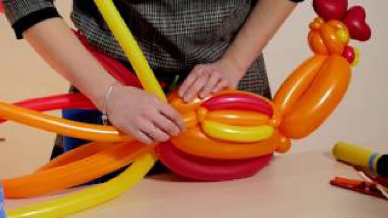 Третий видео урок создаем Петуха из воздушных шаров от Алены Погодиной