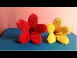 How to make a flower by 3d origami paper - H