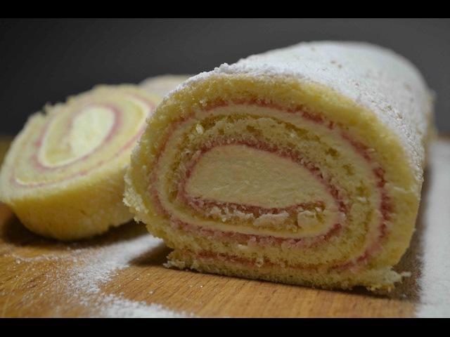 БИСКВИТНЫЙ РУЛЕТ с Сырным Кремом и Смородиновым Джемом   БИСКВИТ для рулета   Biscuit