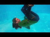 Girl swim fully clothed in Pool #02