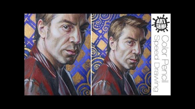 Как рисовать Портрет цветными карандашами Javier Bardem Portrait Drawing