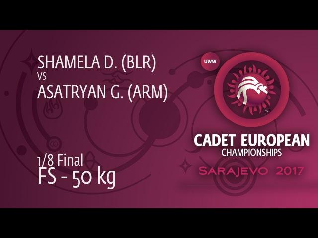 1/8 FS - 50 kg: G. ASATRYAN (ARM) df. D. SHAMELA (BLR) by VPO, 4-0