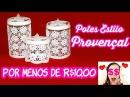 Pote de Vidro Reciclado e Decorado Estilo Provençal ( ARTESANATO, DIY, RECICLAGEM)