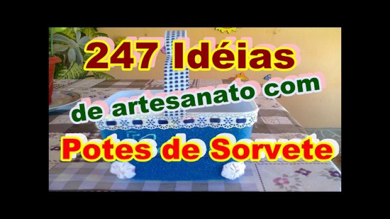 247 Idéias de artesanato com potes de sorvete
