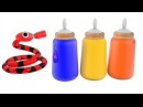 Learn Colors with baby milk bottles snake drink milk bottle children - Johny johny yes papa song