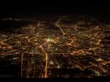 Ночная Москва. Вид из кабины пилота