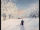 Зима, Снег, Деревенский пейзаж Акрилом. Лимит. Палитра. Winter, Snow in Acrylic. Limited Palette