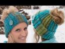 DIY Tutorial Crochet Messy Bun Hat Beanie Ribbed Bun Pony Tail Updo Hat Gorro with Hole on Top