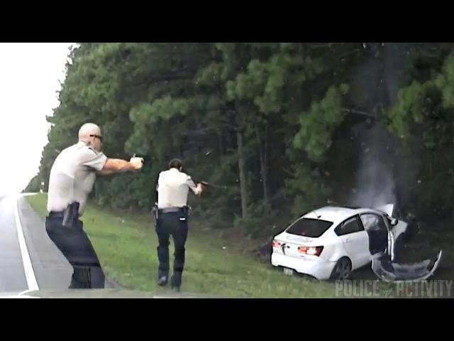 Погоня за грабителем и ДТП . США