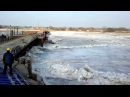 Ледоход, река Неман Временный мост на Литву. 2014 03 03